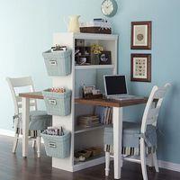 DIY / Cut a table in half, add a shelf = homework station.