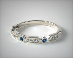 14K White Gold Blue Sapphire and Diamond Arrow Shape Wedding Ring | 14827W14 Fanciful, fun, and stackable! This vintage inspired round diamond and sapphire accented band is the perfect ring to wear with a beautiful solitaire or other rings.