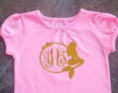 Monogram Mermaid Shirt Gold Glitter mermaid by MyLittleLovedOne