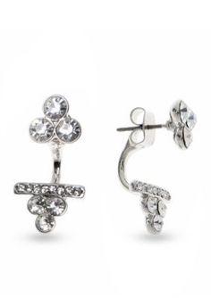 Nine West  Silver-Tone Crystal Clusters Ear Crawler Earrings