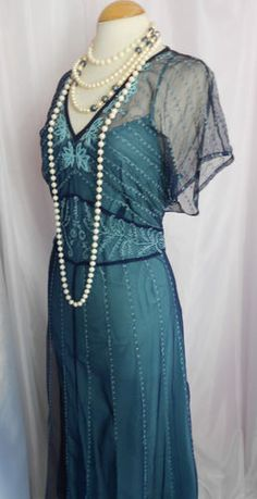 LONG TALL SALLY Teal & Navy Flapper/Charleston/1920s Dress Size 18-20 | eBay