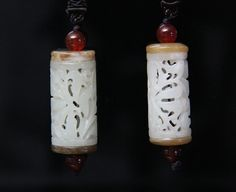 Pair of Certified Chinese Hetian Nephrite Jade Pendants. Well hollowed and well carved!