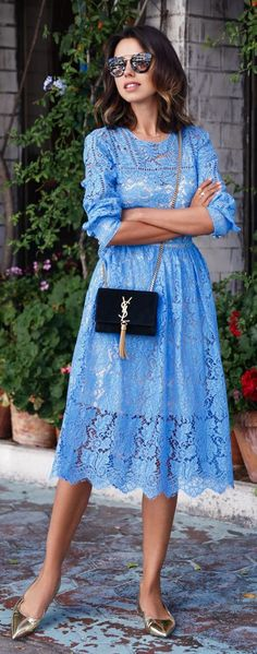 Vivaluxury Baby Blue Amazing Lace Midi Dress by Vivaluxury