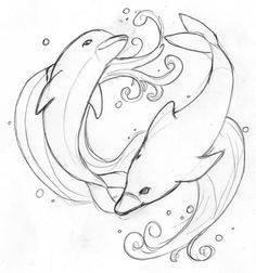 Dolphin Tattoo Flash by fenyxshalo on DeviantArt Dolphin Drawing, Dolphin Art, Animal Coloring Pages, Coloring Book Pages, Animal Drawings, Art Drawings, Wave Tattoo Wrist, Nightmare Before Christmas Tattoo, Dolphins Tattoo