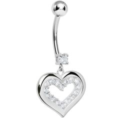 925 Sterling Silver Cubic Zirconia Encased Heart Dangle Belly Ring | Body Candy Body Jewelry #bodycandy