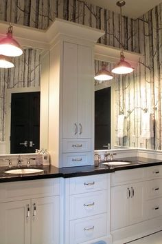 boys bathroom by Veranda Interiors - really like the center storage and the pendant lights over each sink