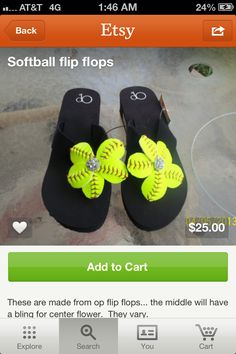 """Cut a softball keeping the laces in a pleasing pattern for """"petals""""...sew or glue them to a small bit of leather or maybe felt?  Thick felt.  Attach to any old pair of flops!  Add bling!"""