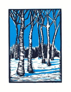 Snow Birch  Linocut Print. Reminded me of PA when we would go up there for Christmas