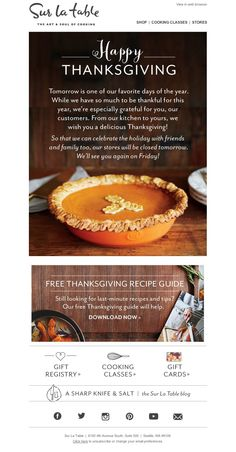 Sur La Table -  11/26/15 SL: Happy Thanksgiving, from our kitchen to yours