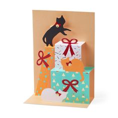 Festive Feline Holiday Cards - Set of 8 in color Holiday Ornaments, Holiday Cards, Paper Engineering, Yesterday And Today, Design Museum, White Envelopes, Happy Holidays, Design Elements, Festive