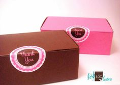 10 Pink and Brown Bakery Favor Boxes