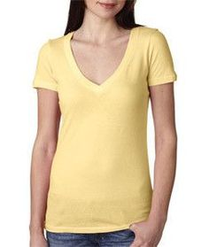 Next Level Ladies' Deep V-Neck Tee 3540 BANANA CREAM