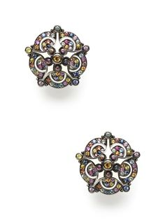 M.C.L. By Matthew Campbell Laurenza Retro Flower White Enamel & Citrine Earrings