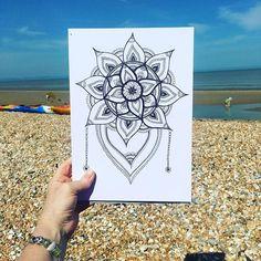 Drawing on the beach #dungeness #greatstone #beach #mandalas #mandala #handdrawn #flowerstagram #mandalaart #handdrawing