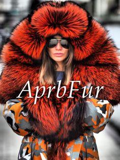 Парка APRB оранжевый Камо чернобурка electric fire