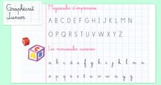 L'écriture cursive Maternelle CP Graphécrit Junior associe majuscules d'imprimerie et minuscules cursives et s'adapte bien aux contraintes de l'écriture Junior, Bullet Journal, Education, Alice, Typography, Lower Case Letters, Printing, Calligraphy, 1st Grades