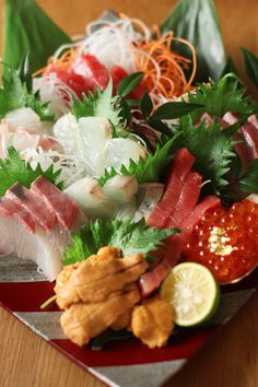 Sashimi presented beautifully