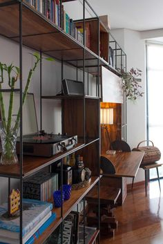 Rods w/ dark stained wood shelving Furniture, House Design, Living Room Inspo, House, Interior, Home, House Interior, Interior Design, Furniture Design