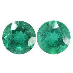 2.50 ct Pair of Round Emeralds Fine Grass Green -Gold Crane & Co.