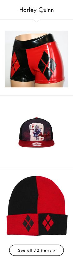 """""""Harley Quinn"""" by nightluver ❤ liked on Polyvore featuring shorts, beach shorts, stretch shorts, swim shorts, vinyl shorts, yoga shorts, accessories, hats, adjustable snapback hats and caps hats"""