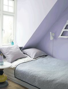Roligt og feminint soveværelse i douche lilla // Serene and feminine bedroom in soft purple