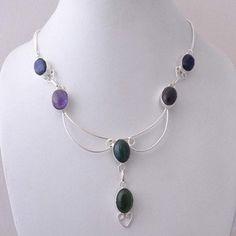 Amazing Green Onyx, Purple Amethyst and Blue Sapphire Necklace #13-26 by WhereDidYouBuyIt on Etsy