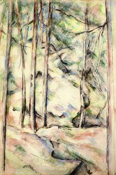 "artist-cezanne: ""In the Woods by Paul Cezanne Size: 48x31 cm Medium: watercolor on paper"""