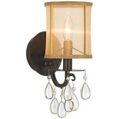 "Crystorama Hampton 13"" High English Bronze Wall Sconce - for the dining room"