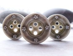 Three Handmade Grey Glazed Porcelain Buttons