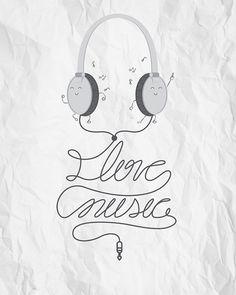 """I Love Music"" #earphones"