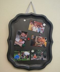 Made this message board from a nasty old rummage sale tray.