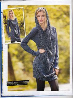 Laura Nº15 (Moda de Punto) Dresses, Fashion, Knit Fashion, Knitting Charts, Dresses With Sleeves, Cowls, Urban, Journals, Tejido