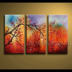 Amazing Contemporary Wall Art Oil Painting On Canvas Gallery Stretched cherry blossom. This 3 panels canvas wall art is hand painted by Bo Yi Art Studio, instock - $128. To see more, visit OilPaintingShops.com
