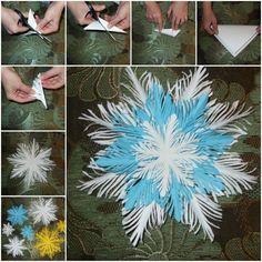 DIY Simple Paper Feather Snowflake Tutorial How to DIY Simple Paper Feather Snowflake Diy Christmas Videos, Christmas Origami, Noel Christmas, Christmas Snowflakes, Christmas Projects, Christmas Ornaments, Snowflake Craft, Paper Snowflakes, Simple Snowflake