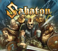 SABATON by el-grimlock on DeviantArt--A cool, stylized illustration of the members of Sabaton. .