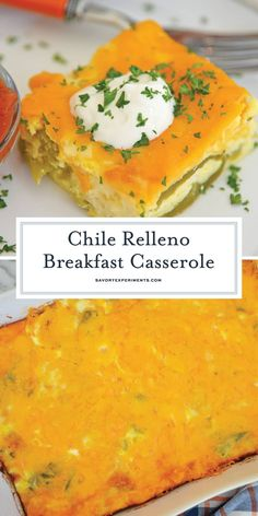 Chile Relleno Casserole is a morning casserole with eggs, two types of cheese, and mild green chiles. A perfect breakfast recipe for feeding a crowd! Mexican Brunch, Mexican Breakfast Recipes, Easy Brunch Recipes, Breakfast Dishes, Mexican Food Recipes, Chili Recipes, Mexican Buffet, Crepe Recipes, Breakfast Pizza