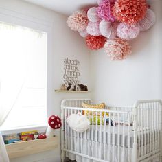 How To: Children's Bedroom Decorating on a Budget - Kids Bedroom Ideas - Paper Pom Poms - Pink, Peach  www.thefurniturestore.co.nz