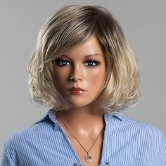 61.59$  Watch now - http://dic2o.justgood.pw/go.php?t=188710101 - Fluffy Short Wave Mixed Color Human Hair Noble Side Bang Capless Siv Hair Wig For Women
