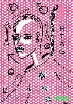 Pop Art Street Brut Singulier Dessin Original Nea Borgel Peinture Toile Art Sexy