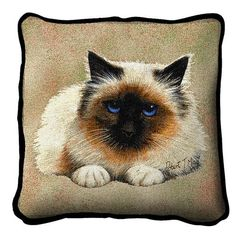 """Artwork by world renowned animal artist, Robert May. 17"""" width x 17"""" length The front is jacquard woven 100% cotton. Not a print. Solid color backing. With piping. Made in the USA. Special Delivery/Ha"""