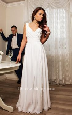 Shop affordable Chiffon V-Neck Sleeveless Dress With Bow And Pleats at June Bridals! Over 8000 Chic wedding, bridesmaid, prom dresses & more are on hot sale. Boho Wedding Dress, Bridal Dresses, Bridesmaid Dresses, Prom Dresses, Wedding Gowns, Plus Size Prom, Prom Dress Shopping, Floor Length Dresses, Dress With Bow