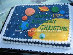Homemade Space Birthday Cake: This Space Birthday Cake was made for my son Christian on his 10th birthday.  He's an avid space/planet fan so I made him a cake of the 9 planets.  I Googled