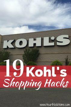 19 Secret Shopping Hacks for Saving at Kohl's http://hearthookhome.com/19-secret-shopping-hacks-for-saving-at-kohls/