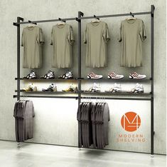 RAD Retail Aluminum Display (available in black) - Modern Shelving Clothing Store Displays, Clothing Store Design, Retail Shelving, Modern Shelving, Retail Wall Displays, Modern Store, Store Layout, Boutique Interior Design, Store Fixtures