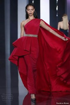 Ralph and russo red gown wedding dress