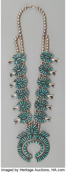 NAVAJO SILVER AND TURQUOISE SQUASH BLOSSOM NECKLACE. W. Begay. c.1985...