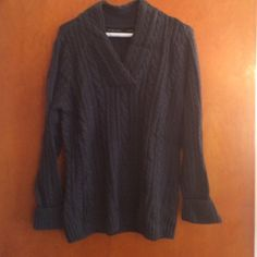 Gray cable knit sweater Knit sweater Jeanne Pierre Sweaters Cowl & Turtlenecks