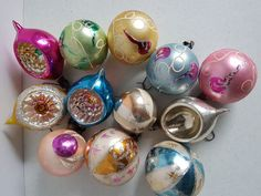 Lot Of 10 Vintage Christmas Tree Ornaments Opaque Glass Balls Glass Ball, Christmas Tree Ornaments, Vintage Christmas, Balls, Seasons, Holiday, Ebay, Vacations, Seasons Of The Year