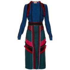 Altuzarra Letitia block-colour midi dress (€3.625) ❤ liked on Polyvore featuring dresses, colorblock midi dress, blue color block dress, slit dress, blue colorblock dress and colour block dress