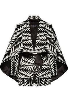 BALMAIN WOMAN CAPE-EFFECT JACQUARD JACKET BLACK. #balmain #cloth #